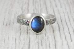 Handmade Sterling Silver and Labradorite Ring