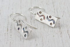Wave Hand Stamped Sterling Silver Handmade Earrings