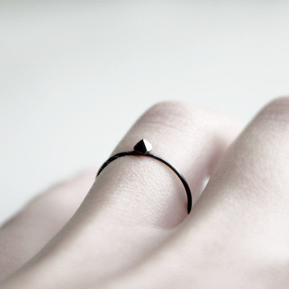 Tiny Black Pyramid Ring
