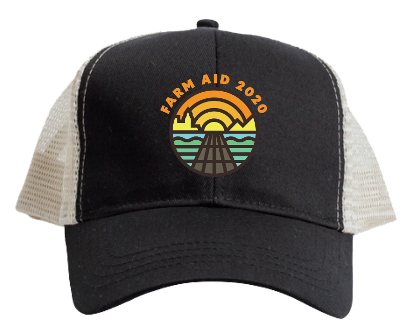 Farm Aid 2020 Logo Trucker Hat - Black on White