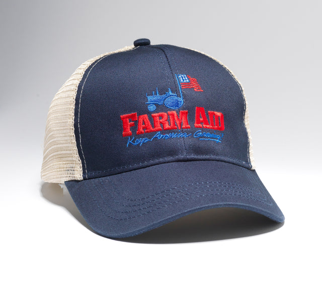 Farm Aid Navy Tractor Logo Trucker Hat