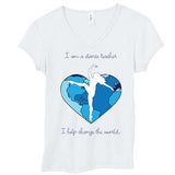 "T-Shirt: Women's White Short Sleeve ""I am a Dance Teacher"""
