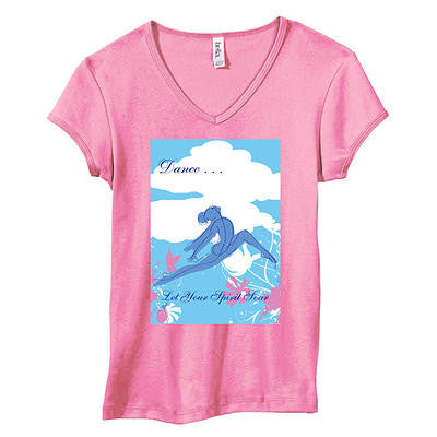 "T Shirt - Women's Pink Short Sleeve V-neck ""Dance... Let Your Spirit Soar"""