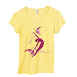 "T Shirt - Women's Yellow Short Sleeve ""Dance Dream"""