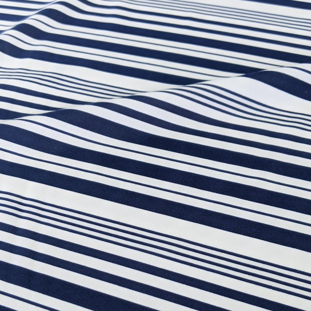 Nylon Swim Tricot, Navy Varied Stripes