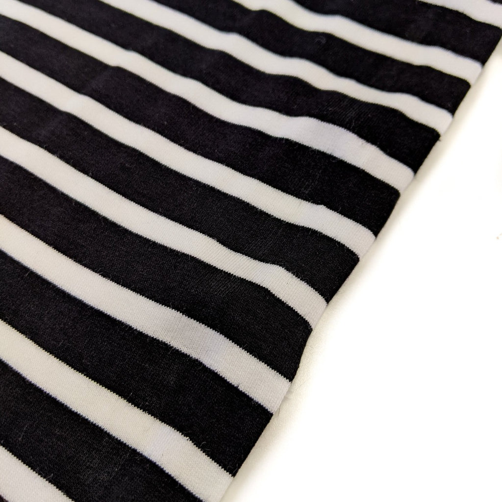 Striped Bamboo Stretch French Terry - Black/Ecru