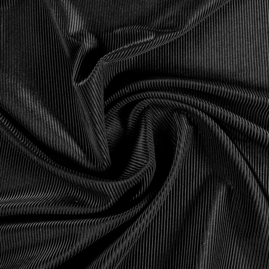Ribbed Polyester Swim Tricot - Black