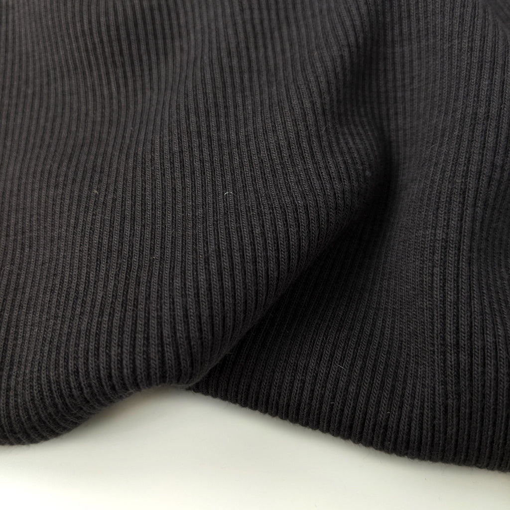 Bamboo & Cotton Sweatshirt Fleece Coordinating Ribbing - Charcoal