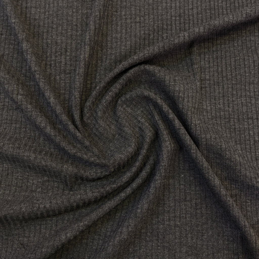 Bamboo Rib Knit - Dark Heathered Grey