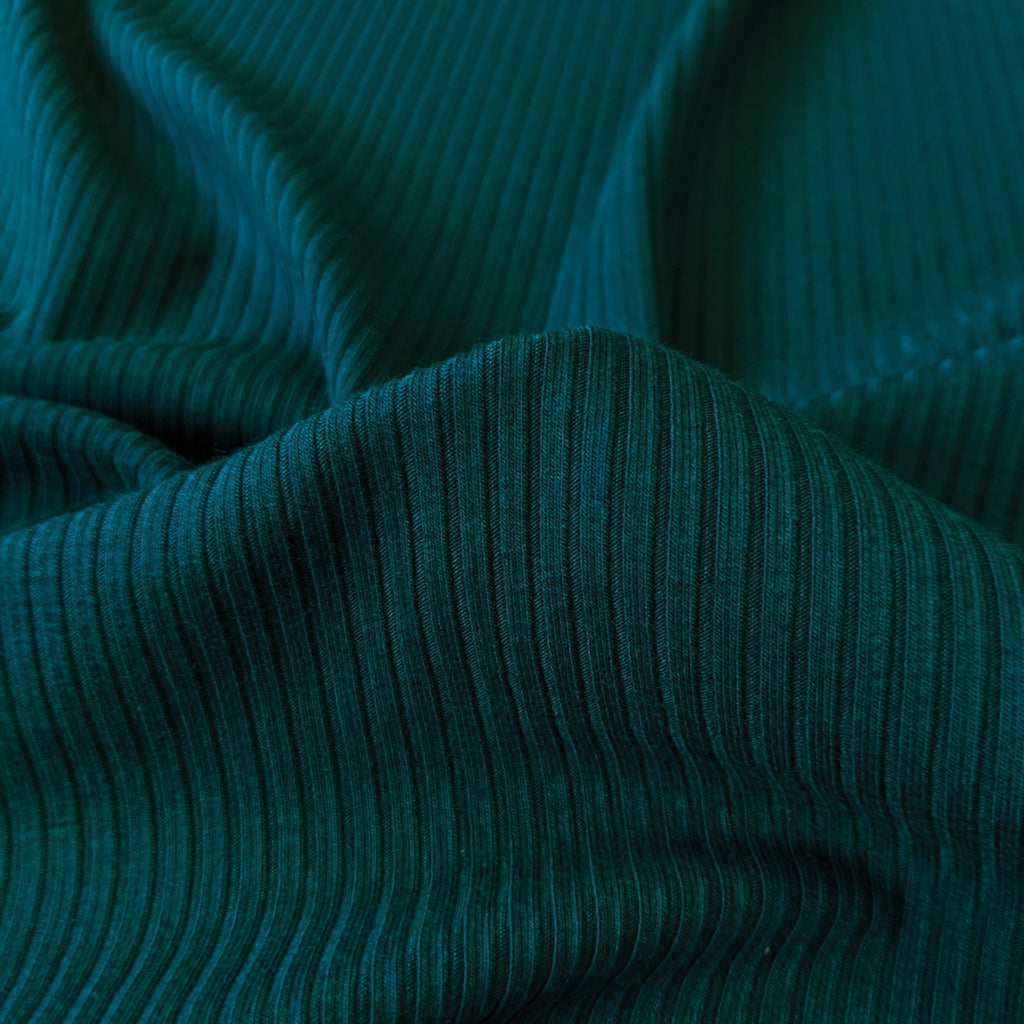 Bamboo Rib Knit - Deep Teal