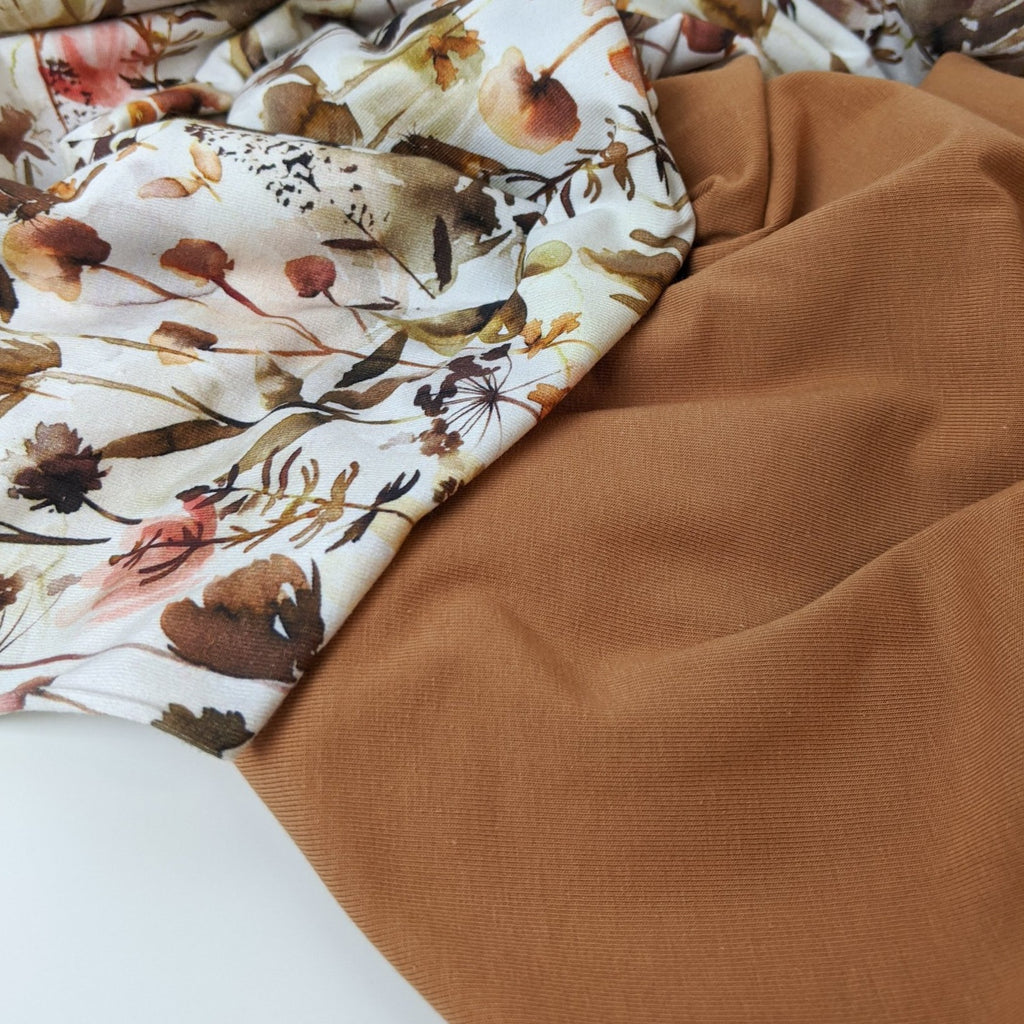 Pecan Brown Cotton Jersey Knit - Family Fabrics Coordinate