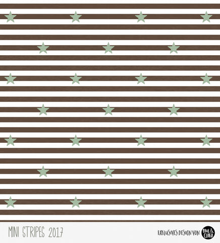 Paul und Clara: Mini Stripes Stretch French Terry, Mint Stars on Brown