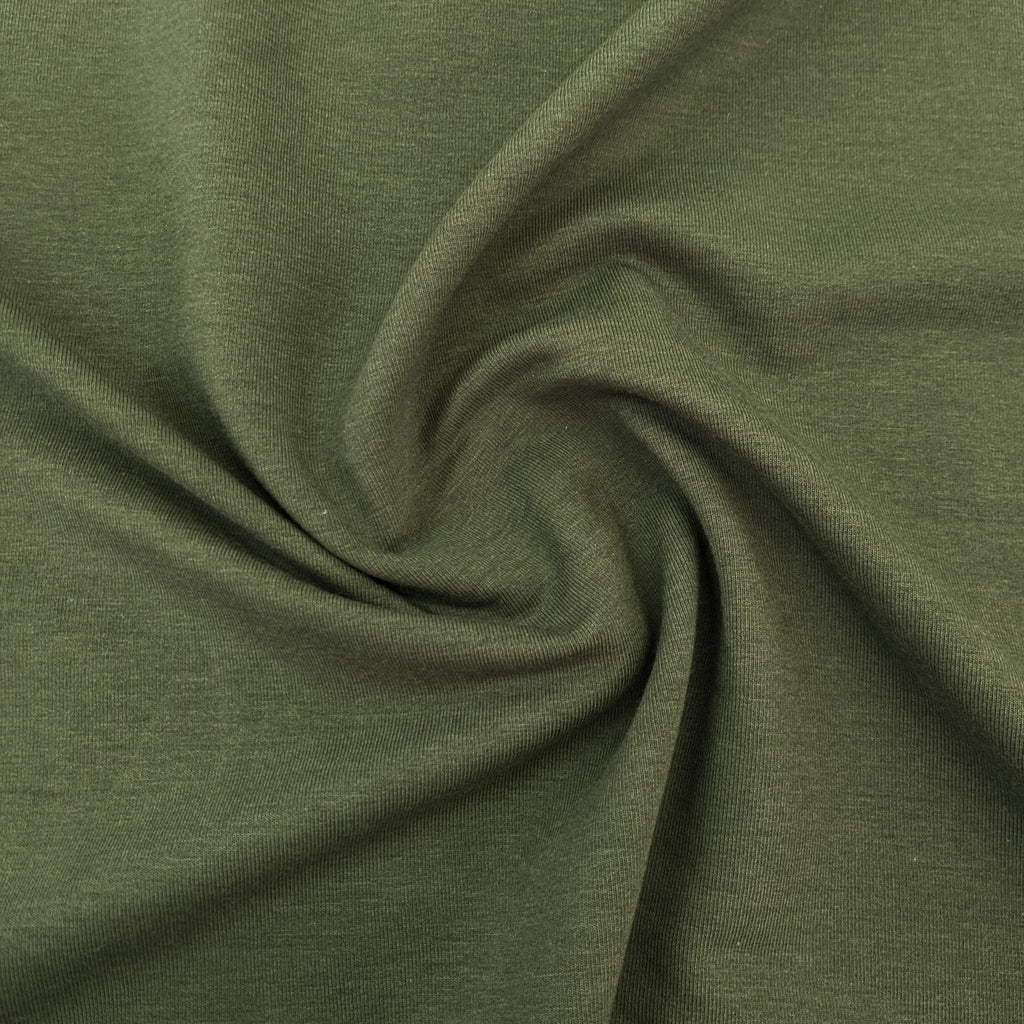 Bamboo & Cotton Stretch Fleece - Moss