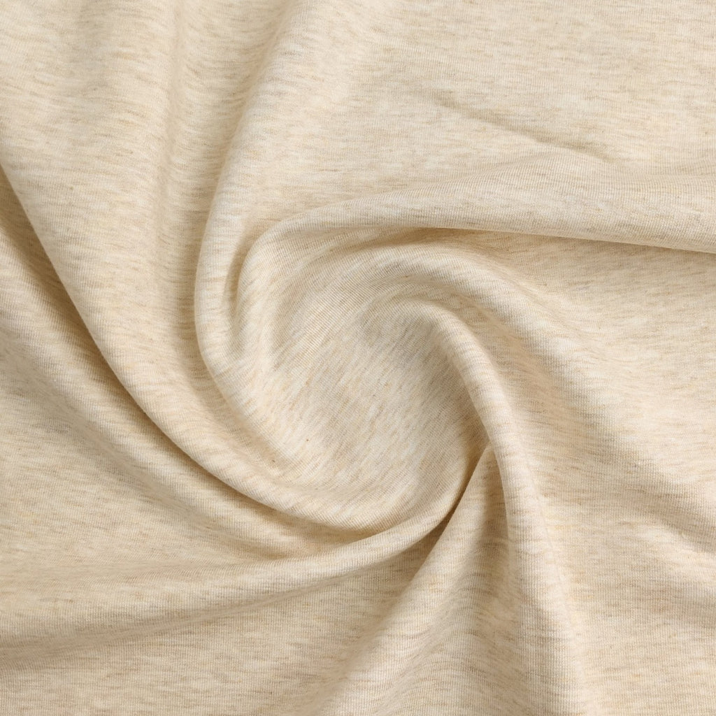 Bamboo & Cotton Stretch Fleece - Heathered Cream