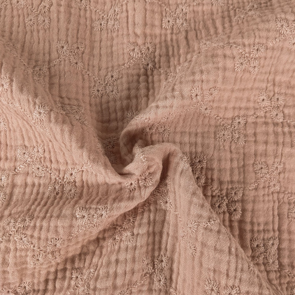 Cotton Double Gauze Eyelet - Peachy Pink