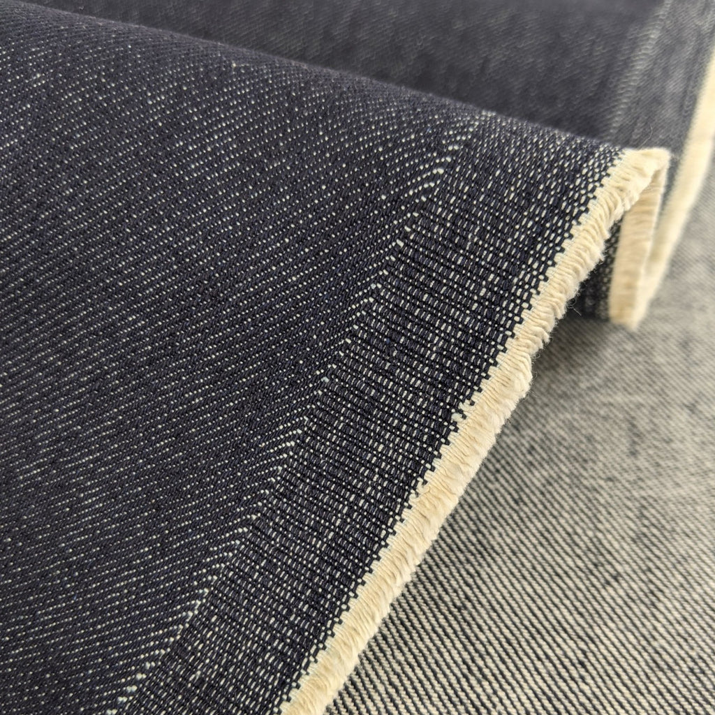 9oz Raw Organic Stretch Denim - Deep Indigo