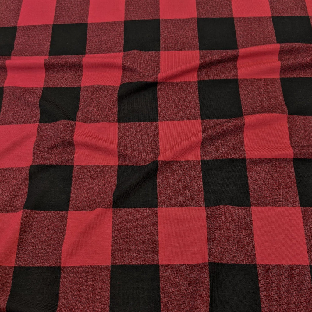 Bamboo Jersey Knit - Red/Black Plaid