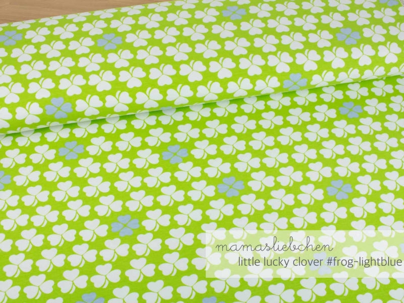 Mamasliebchen: Lucky Little Clover Stretch French Terry, Frog/Light Blue