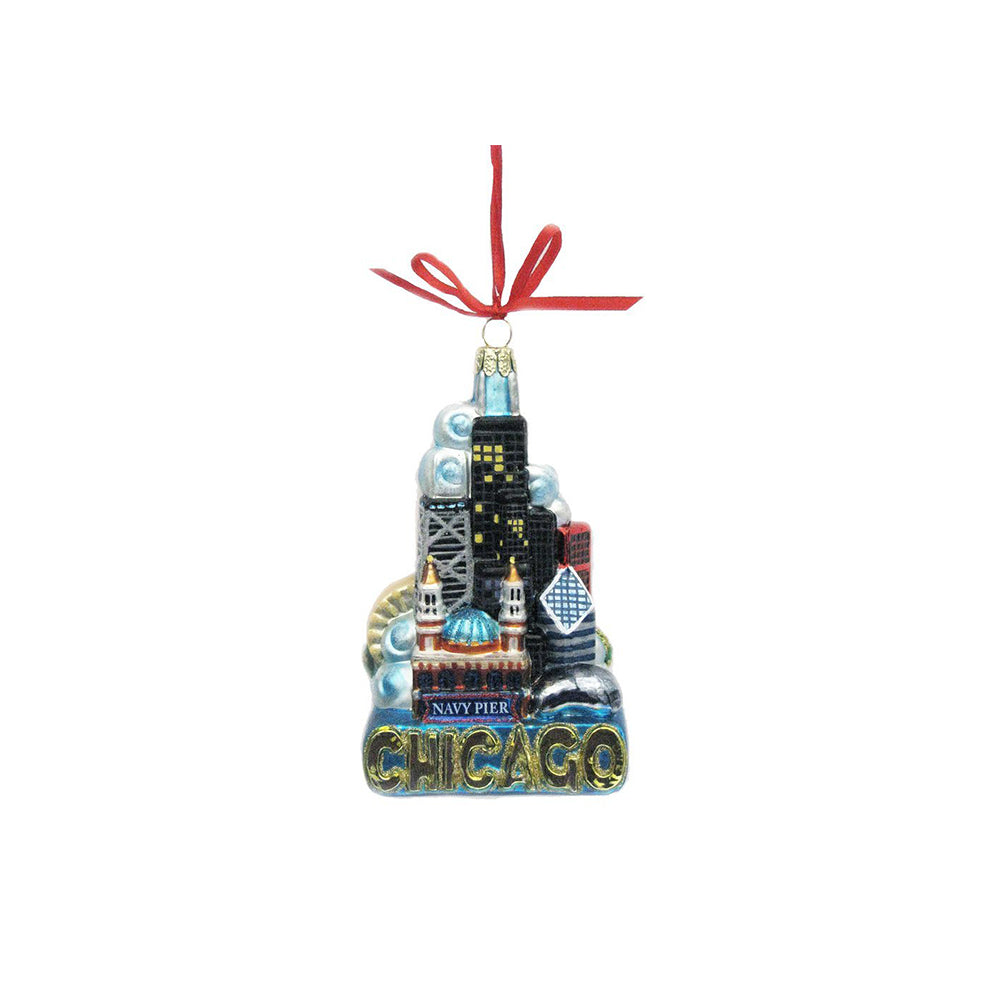 Chicago Cityscape Ornament Kurt S. Adler - Foursided