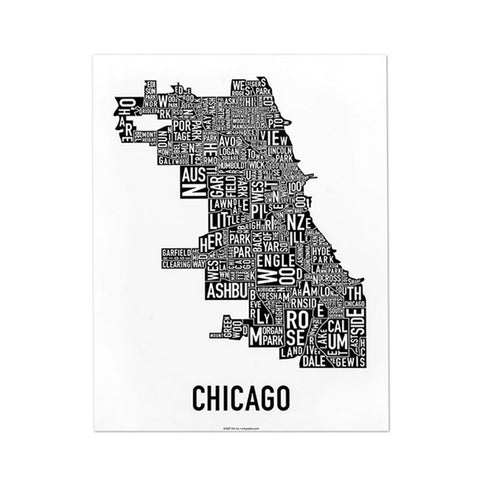 11x14 Chicago Neighborhoods Print (multiple colors)
