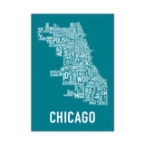 Chicago Neighborhoods Print (multiple colors) ORK Poster - Foursided