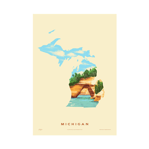 Michigan State Print Family Tree - Foursided