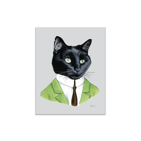 Black Cat Gentleman Print