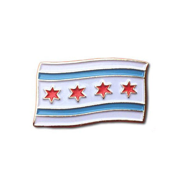 Chicago Flag Enamel Pin the Found - Foursided