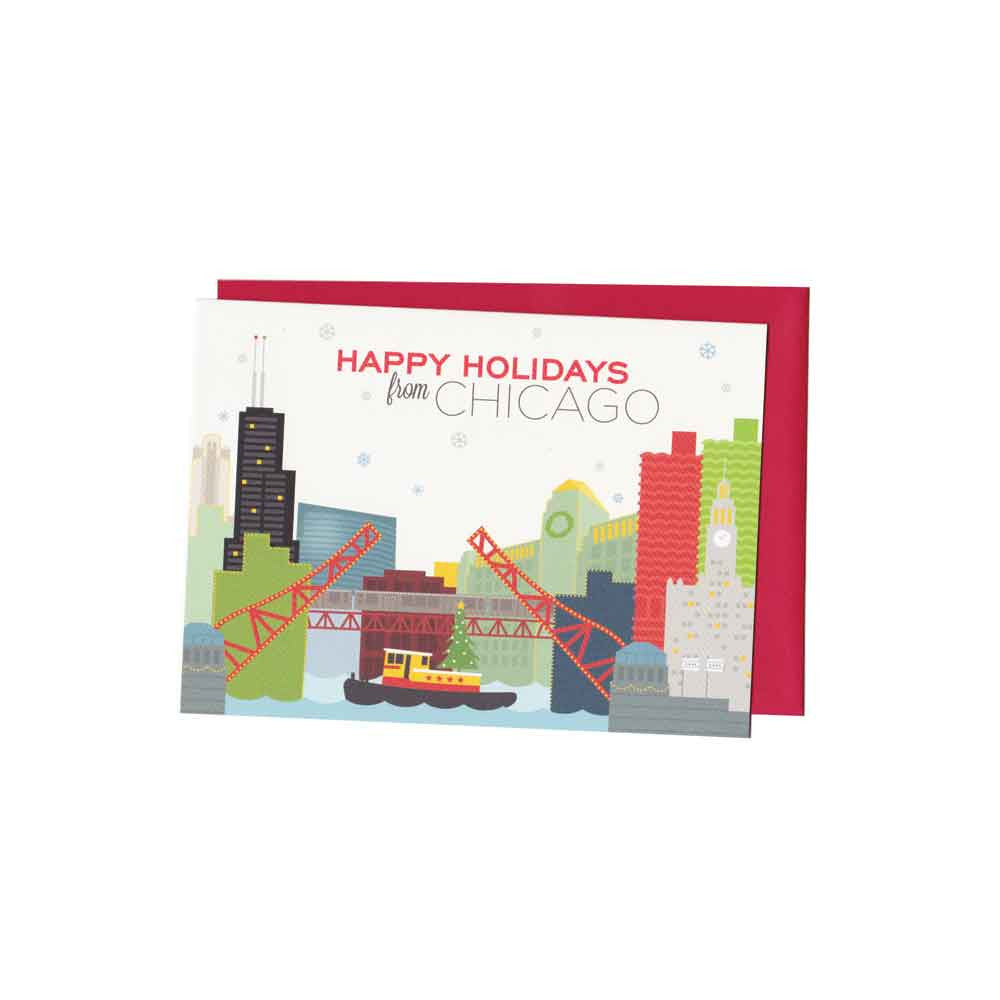 Chicago Happy Holidays Card Set (8) the Found - Foursided