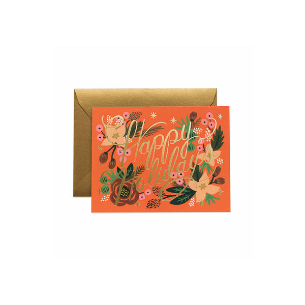 Poinsettia Holiday Card Set (8) Rifle Paper Co. - Foursided