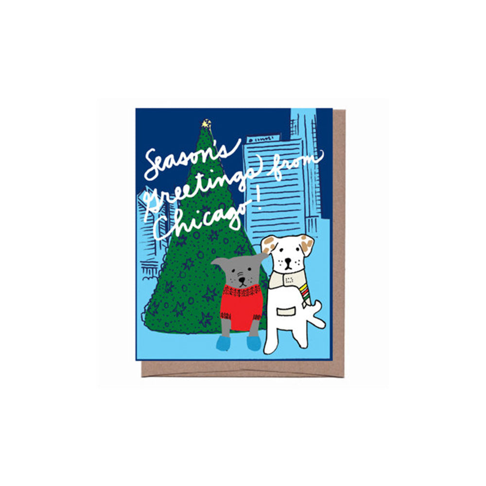 Chicago Dogs Holiday Card Set (8) La Familia Green - Foursided