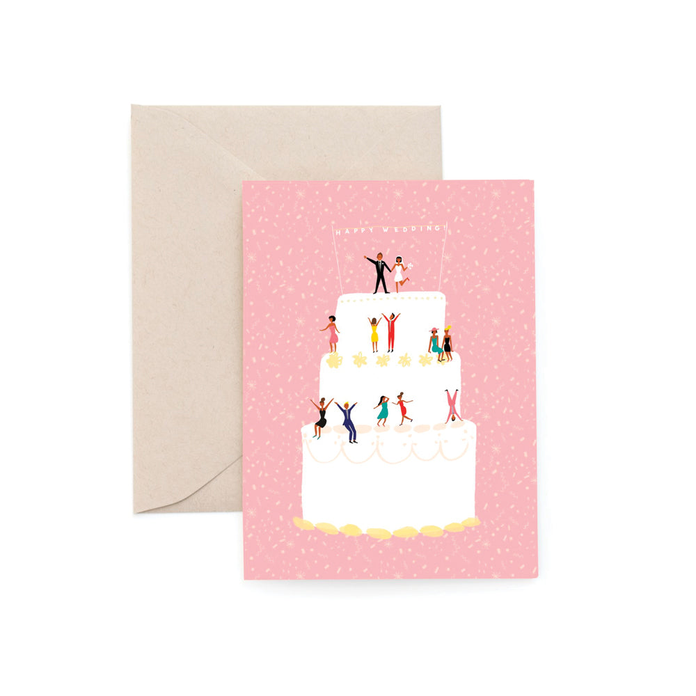 Happy Wedding Cake Card Carolyn Suzuki - Foursided
