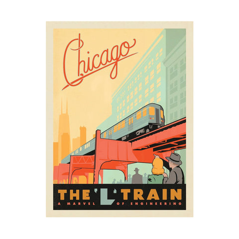 Chicago L Train Postcard