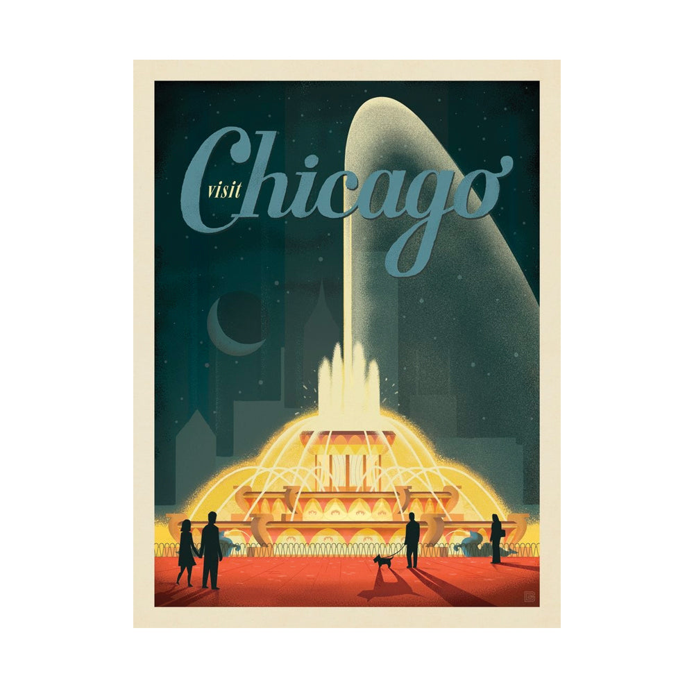 Chicago Buckingham Fountain Postcard Anderson Design Group - Foursided