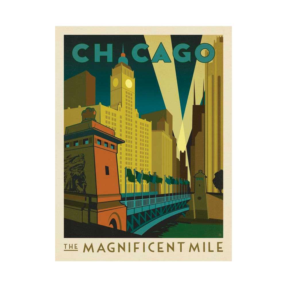 Chicago Magnificent Mile Postcard Anderson Design Group - Foursided