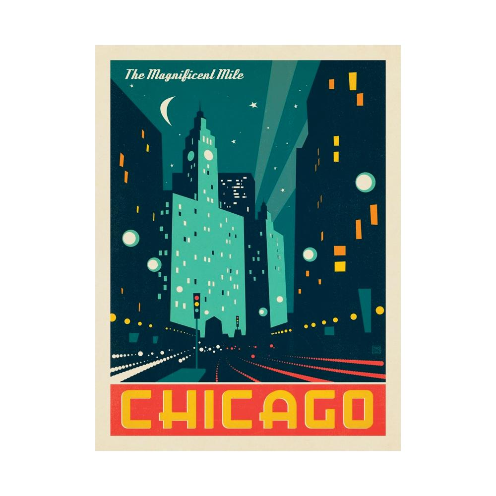 Chicago Modern Magnificent Mile Print Anderson Design Group - Foursided