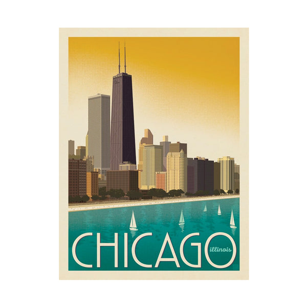 Chicago Modern Skyline Postcard Anderson Design Group - Foursided
