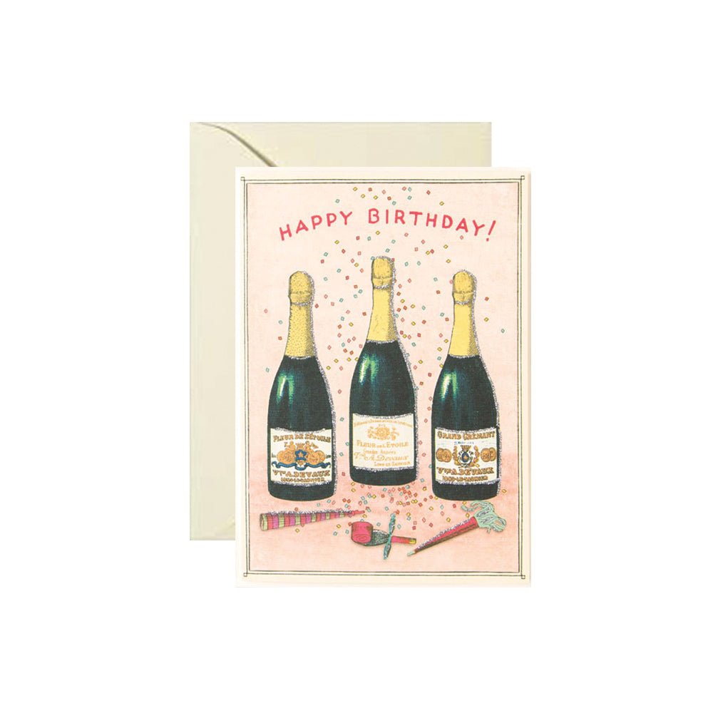 Happy Birthday Champagne Card Cavallini - Foursided