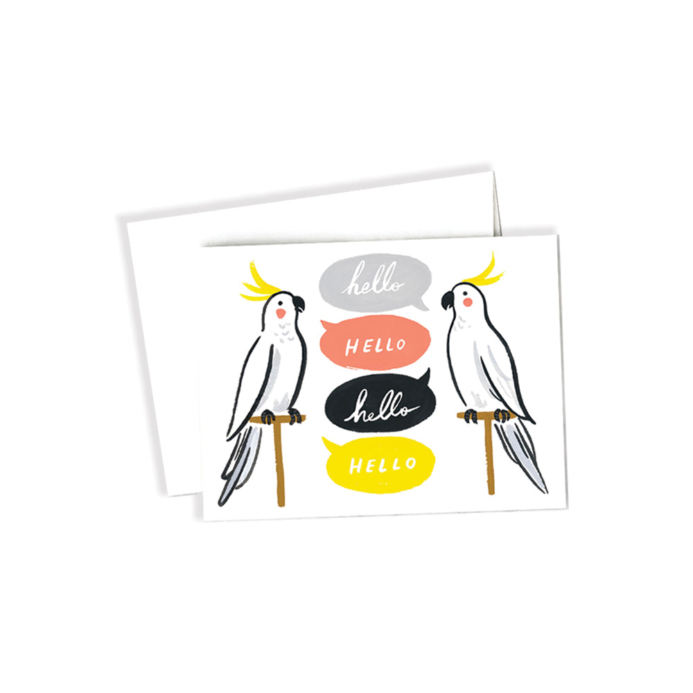 Cockatiels Hello Card Idlewild Co. - Foursided