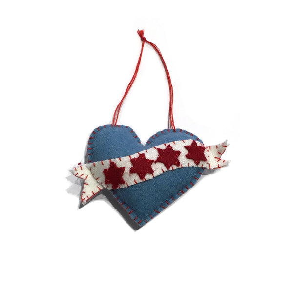 Chicago Heart Plush Ornament - Foursided - Foursided