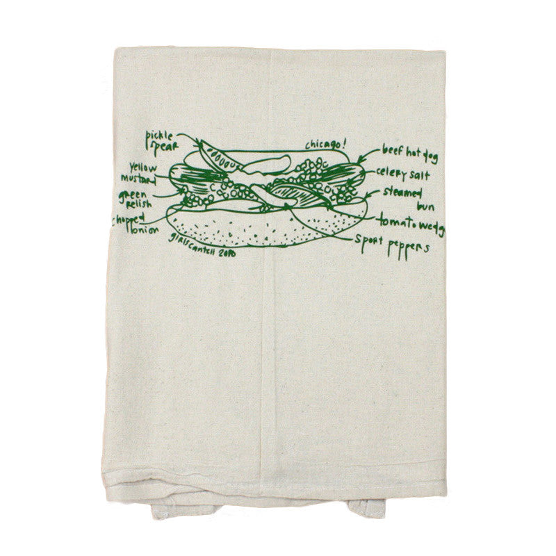 Chicago Hot Dog Tea Towel Girls Can Tell - Foursided