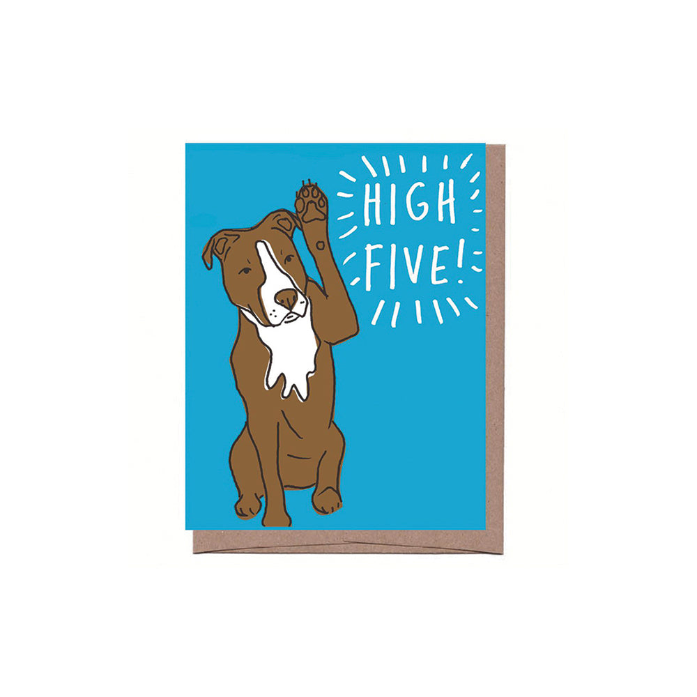 Dog High Five Card La Familia Green - Foursided