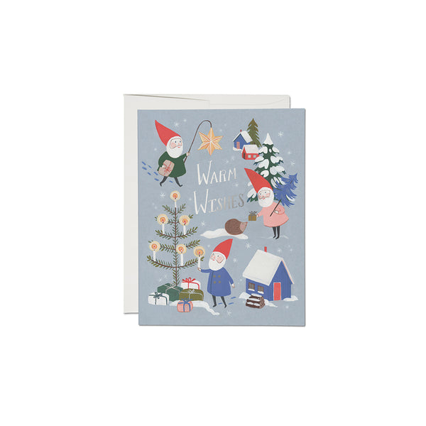 Holiday Gnomes Card Set (8) Red Cap Cards - Foursided