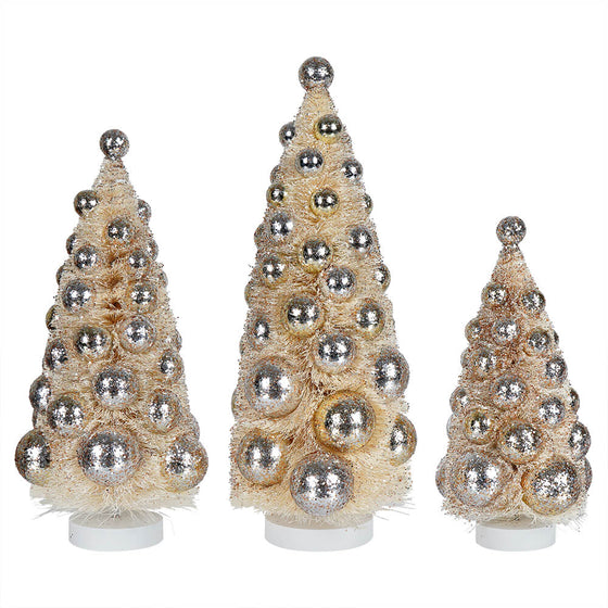 Silver Bauble Bottle Brush Tree