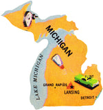 Framed Michigan Puzzle Piece Foursided - Foursided