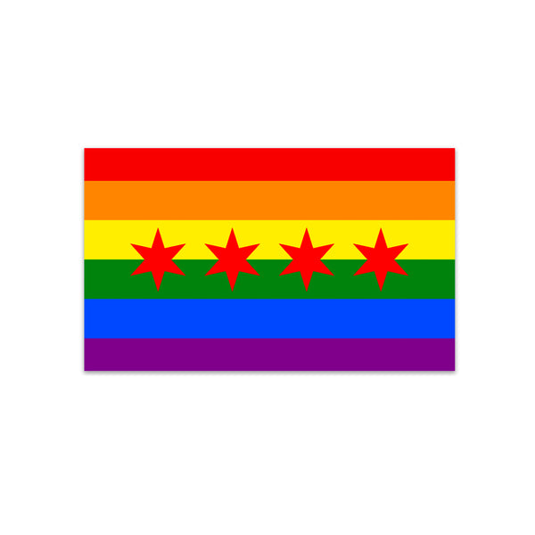 Chicago Pride Flag Sticker Transit Tees - Foursided