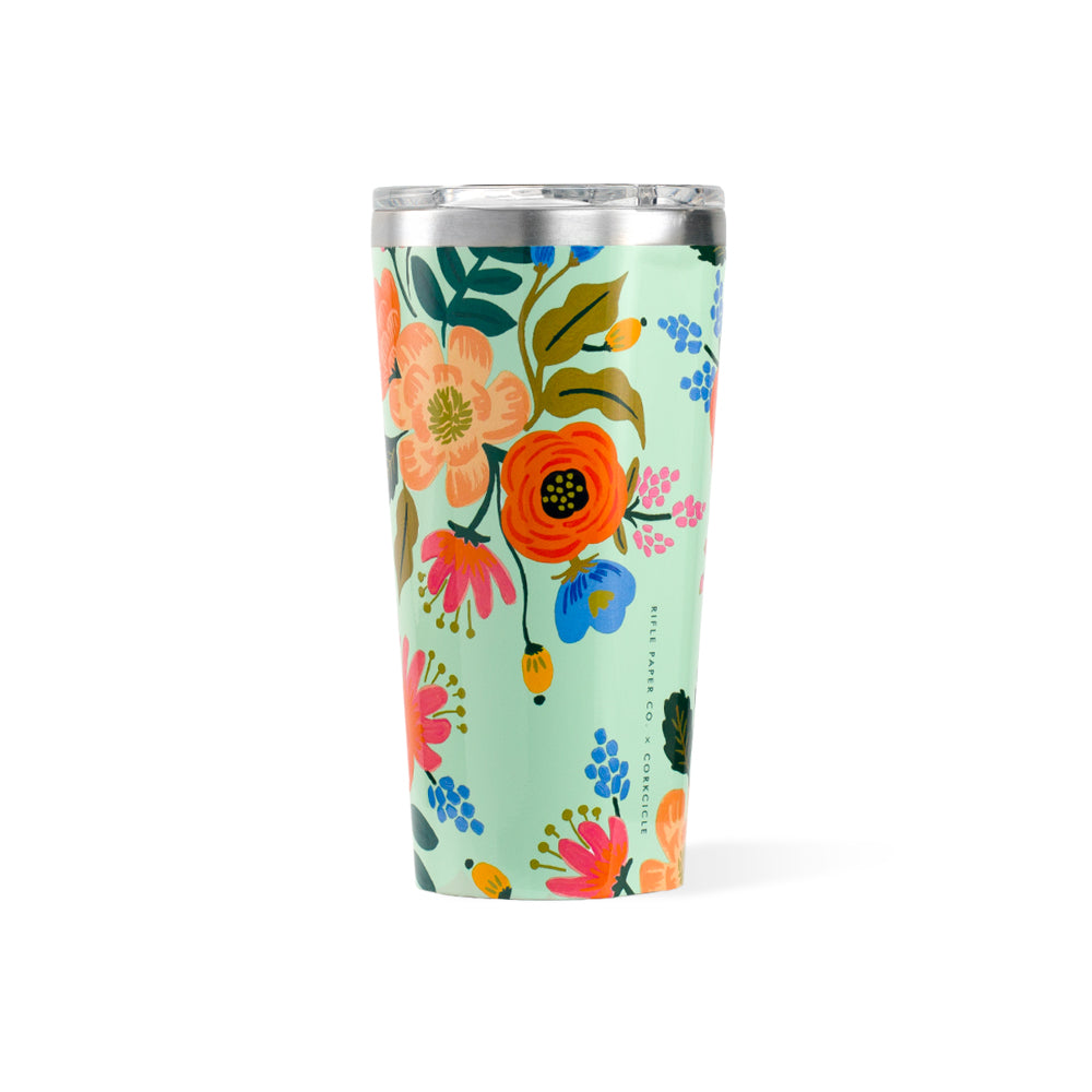 Lively Floral Mint Tumbler Corkcicle - Foursided