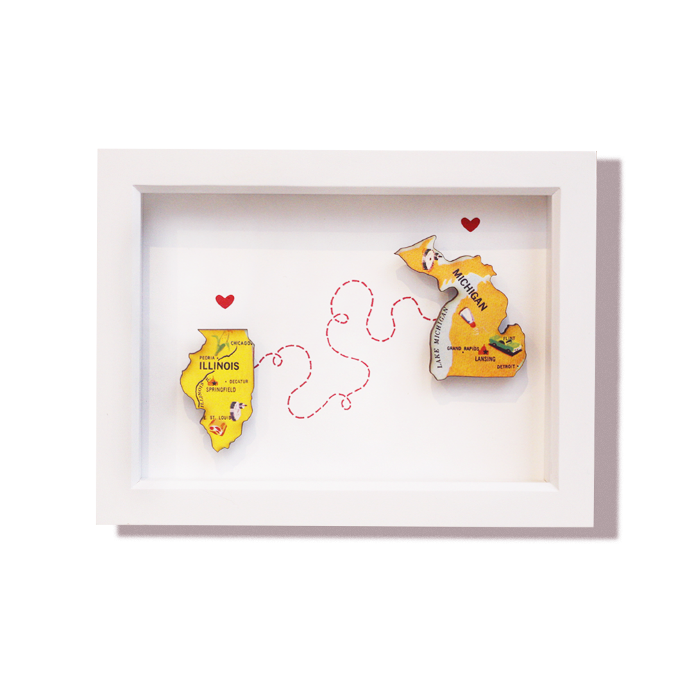 States In Love | Framed Puzzle Pieces – Foursided