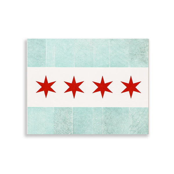 Chicago Woodtype Flag Print Starshaped Press - Foursided