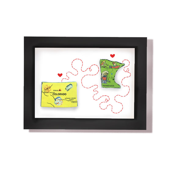 States In Love | Framed Puzzle Pieces Foursided - Foursided